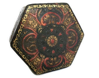 Hand tooled leather box Italian hexagon shaped container trinket holder
