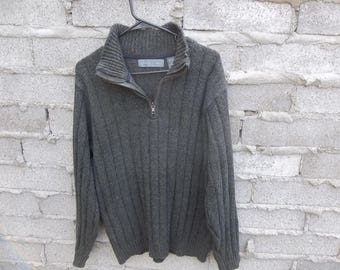 Vintage Sweater Oscar de La Renta Medium 1990s 80s Normcore Grey Distressed Collar Zipper