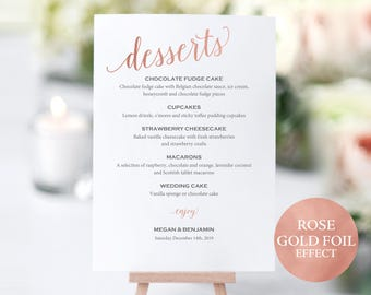 Rose Gold Wedding Dessert Menu Template, Printable Rose Gold Dessert Menu,  Editable Rose Gold  Dessert Menu Template