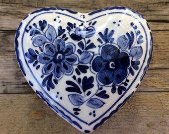 Delft Blue Heart Dish Jewelry Dish Keepsake Trinket Box Holland