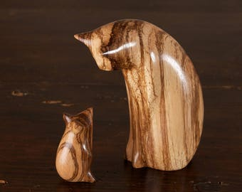CARVED TO ORDER - Cat & Mouse Sculpture, Choice of Wood, Hand Carved by Perry Lancaster,