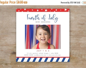 ON SALE July 4th mini session template - patriotic mini session template - Fourth of July mini session  INSTANT Download