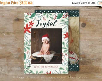 ON SALE Holiday card template - 5x7 card template - christmas card template