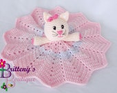 Security Blanket Cat Lovey Blanket Baby Lovey Crochet Baby Lovey Crochet Plush White Cat Pink Blanket Security Blanket Snuggle Blanket