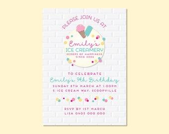 Ice Creamery Printable Invitation, Birthday Invitation, Kids Invitation, Party Invitation, Girl Invitation, Ice Cream Party Invitation