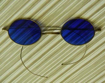 Amazing Antique Cobalt Blue Glass Sunglasses. Low Profile Oblong Lenses w/ Brass Frame. Authentic Late Victorian Eyewear in Good Condition.