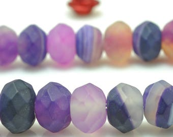 68 pcs of Natural Purple banded Agate  faceted and matte rondelle beads in 5x8mm
