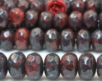 72 pcs of Natural Red Jasper faceted rondelle beads in 5x8mm