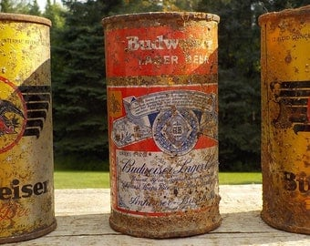 Old Budweiser beer cans
