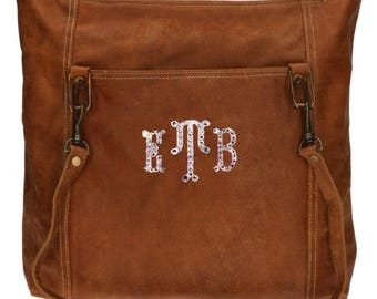 Custom Swarovski Crystal Rustic Carryall Leather Bag - Shoulder Bag - Overnight Bag - Personalized Bag - Monogram Bag - Leather Tote