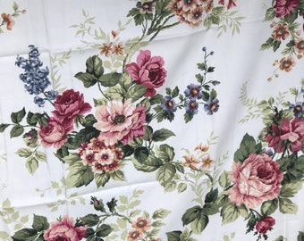 A beautiful length of vintage Sanderson sateen floral fabric