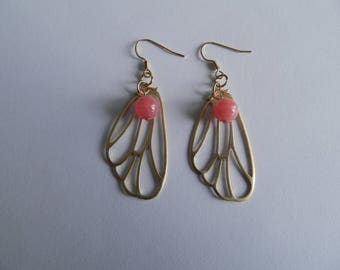 Pink jade bead and gold Butterfly wing earrings