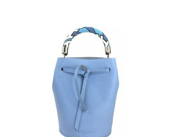 Leather Mini Bucket Bag (Lavender)