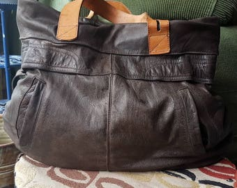 Casual Upcycled Leather Tote, OOAK and Eco-Awesome
