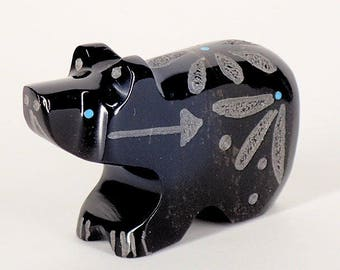 Zuni Fetish Bear Native American Indian Fetish Beautifully Etched Black Marble Bear by Russell Shack