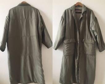 vintage 90's ARMY GREEN SILK bomber jacket - long, medium