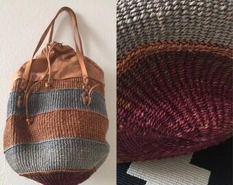 vintage DRAWSTRING striped woven MARKET BAG