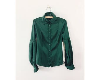 Secretary Blouse   green Blouse    bellowing sleeves   small