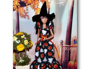 Halloween Dress and Hat fit Modern Teen Sister Dolls. (clothes only, Skipper doll is not included)  Ghosts and Jack-O-Lanterns. Witch
