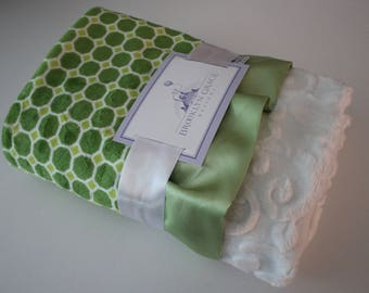 Izzy Tile Lime Green with Embossed Vine in White, Minky Blanket, Nursery, Baby Blanket, Throw, Crib Bedding