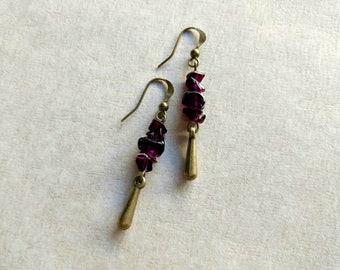 Natural Garnet Earrings, Raw Stone Earrings, Raw Garnet Dangle Earrings, January Birthstone Earrings, Burgundy Garnet Statement Earrings