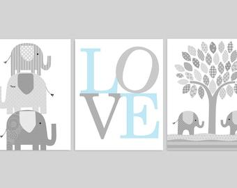 Elephant Nursery Art, Baby Room Decor, Love Print, Set of Three Prints, Elephant Canvas Art, Baby Shower Gift, Gender Neutral, Baby Boy Room