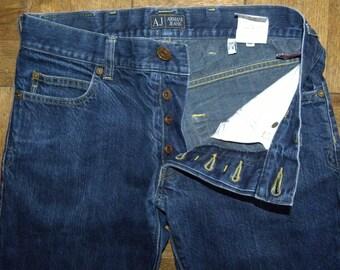 Armani Jeans / Giorgio Armani button fly Jeans / DARK wash / Boyfriend / Men's jeans / straight leg / W 30 x L 28.5
