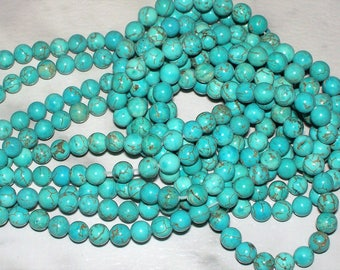 Turquoise Magnesite Gemstone w/Matrix - 6MM