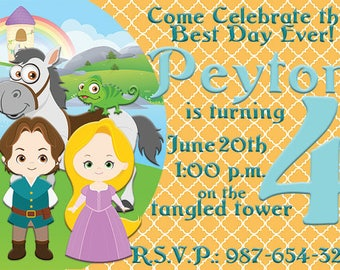 Tangled party; Tangled Birthday Party; Tangled JPEG Invitations; Rapunzel Party; Tangled Party; Party decor; Tangled; Tangled Birthday