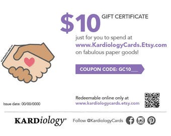 GIFT CERTIFICATE 10 DOLLARS - Kardiology Cards