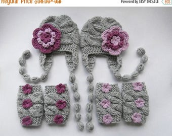 ON SALE 20% DISCOUNT Baby Twin Girls Newborn Outfits -Hats and Leg Warmers for Twins Girls - Knit Newborn Photo Props - Newborn Hospital Out