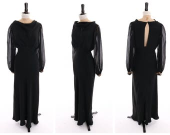 Vintage original 1930s 30s black bias cut evening dress w sequence uff sleeves UK 8 10 US 4 6 S