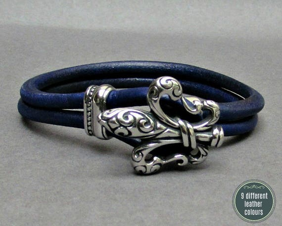 Fleur De Lis Leather Bracelet, Stainless Steel Mens Leather bracelet Cuff Gift For Men Customized On Your Wrist