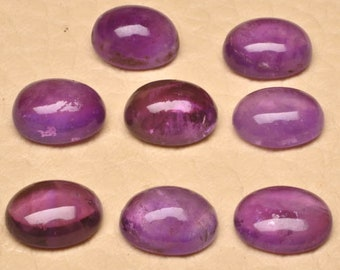 9mm /Natural/ Amethyst/ Gemstone /Cabochon /Eight Piece Lot Amethyst Cabochons