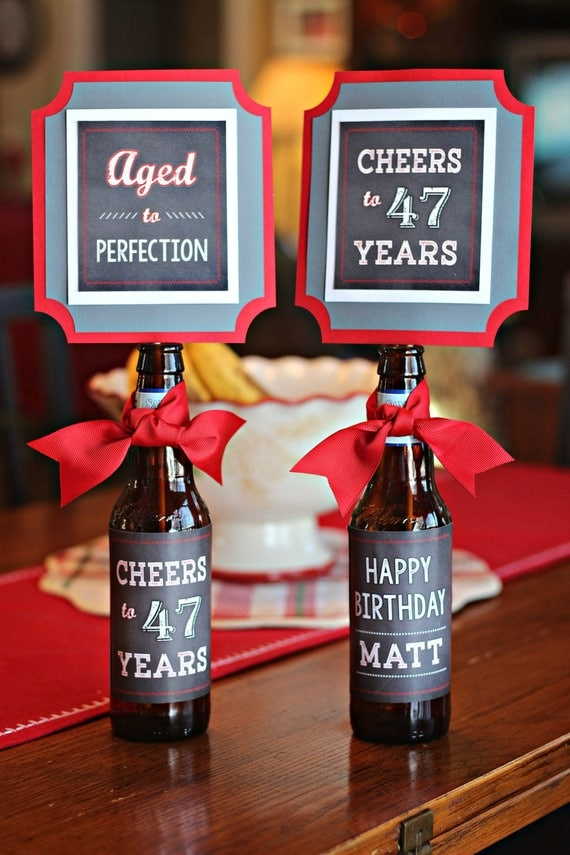 40TH BIRTHDAY DECORATIONS 40th Party Beer Bottle Labels Beer Wraps