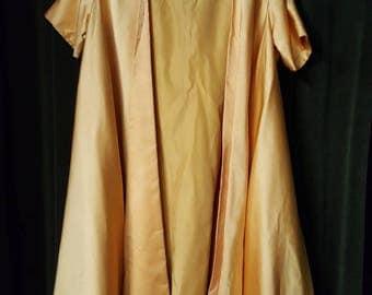 Vintage Retro 1960s Rita Thornton Boston Designer Gold Satin Evening Coat Jacket  C603J