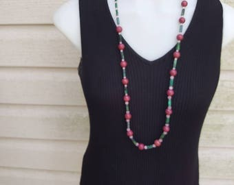 Rhodolite and Rose quartz with Malachite Beads Necklace