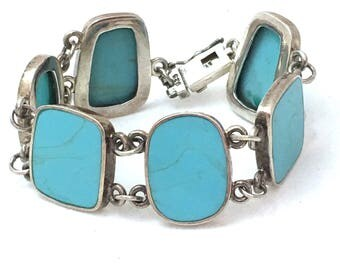 Turquoise Colored Silver Link Bracelet, Rounded Inset Blue Inset Stone FAS 925 Bracelet, Box Closure with Safety Clasp, Flat Faux Turquoise