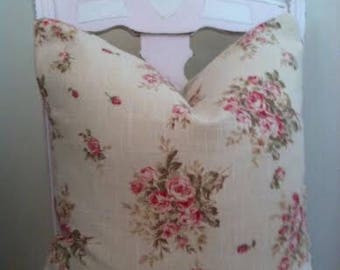 Shabby Chic Pillow Cover,Oatmeal Linen with Roses, Cottage Chic
