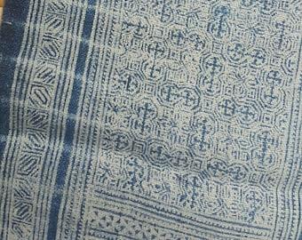 Hand woven Hmong hemp batik fabric natural indigo (H279)