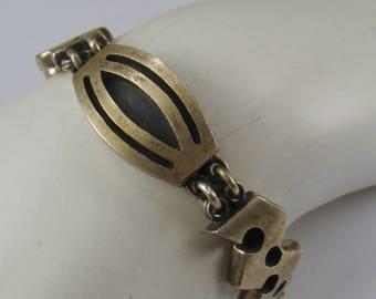 """Signed Modernist Style Link Bracelet 6 1/2"""" Long ~ 52.48 Grams"""