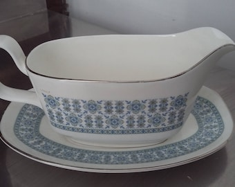 Large Royal Doulton Counterpoint Jug Gravy Sauce Boat and Saucer