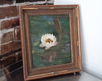 Vintage Oil Painting of A Waterlily