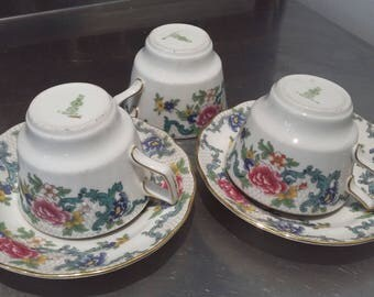 3 Small Royal Doulton Booths Floradora Cups and 2 Saucers