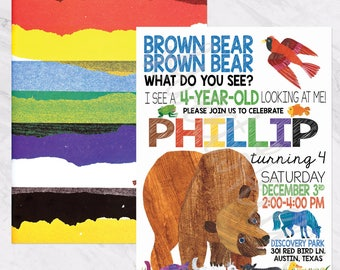 Brown Bear, Brown Bear Birthday Invitation
