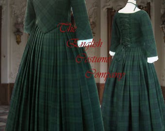 Outlander  Claire Fraser style gown Highland country lady in pure fine wool from Scotland