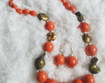 Orange & Green Beaded Necklace