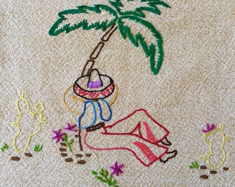 Vintage MEXICAN embroidered cushion cover