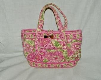Vera Bradley PETAL PINK Toggle Shoulder Bag Purse Handbag Tote Retired Pattern