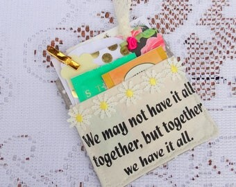 Together is Better Pocket Coaster, Mug Rug, Tea Gifts, Shabby, Tea Time, Decorative, Free USA Shipping